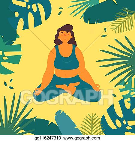 Meditation clipart positive body image. Vector stock woman in