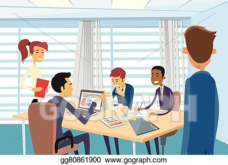 Meeting clipart desk. Eps illustration business people