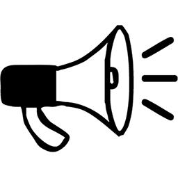 Megaphone clipart sound wave. Bullhorn with waves emoji