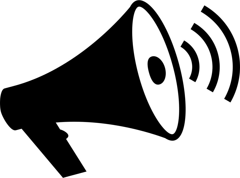 Loudspeaker with waves svg. Megaphone clipart sound wave