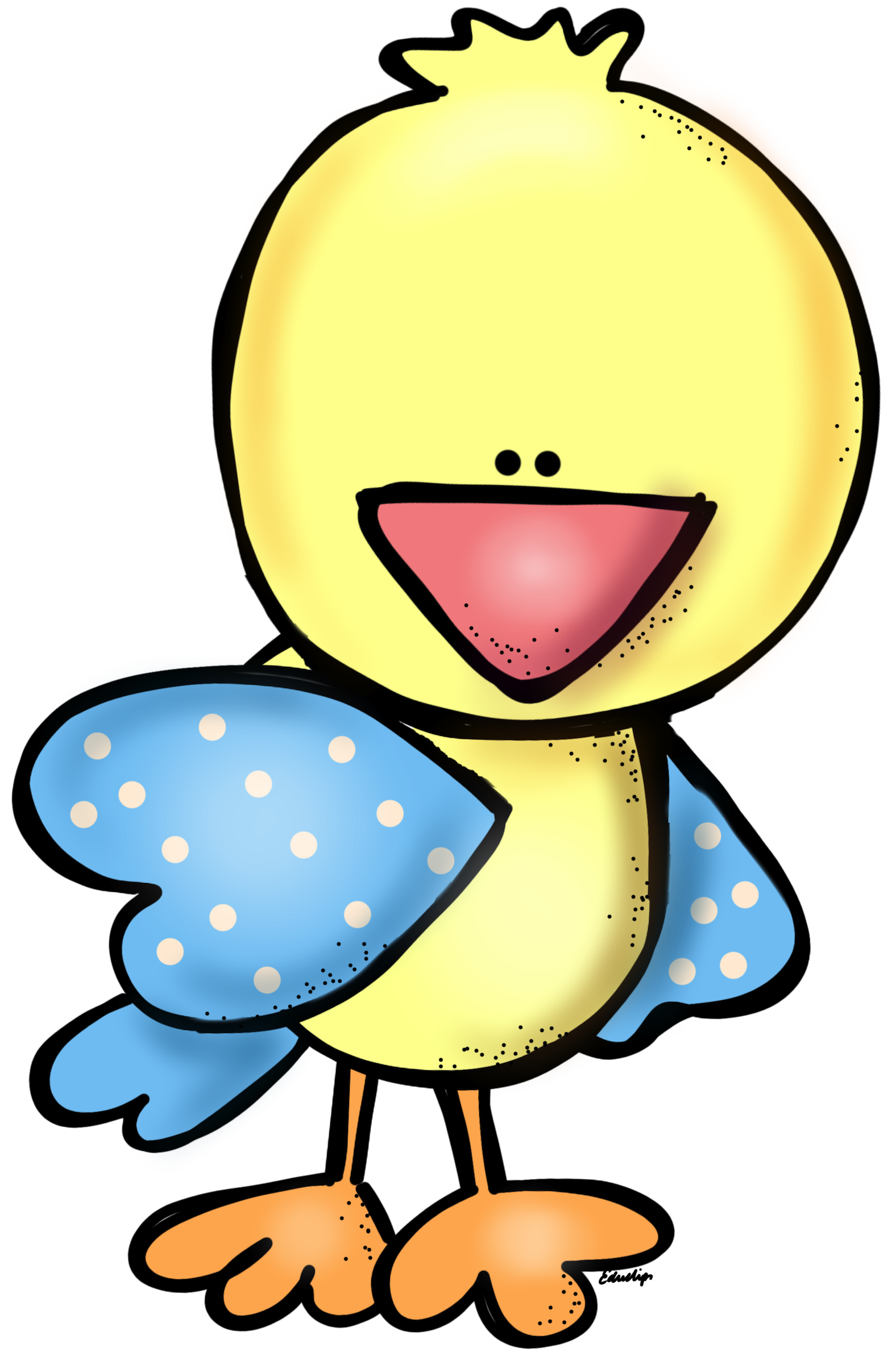 Yellow with blue wings. Melonheadz clipart bird