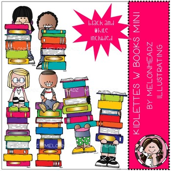 Kidlettes with books clip. Melonheadz clipart book