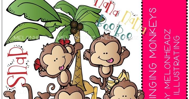 Monthly kidlettes swinging monkeys. Melonheadz clipart monkey