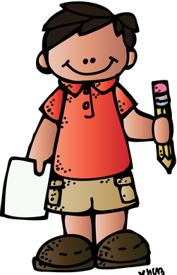 Boy with and pencil. Melonheadz clipart paper