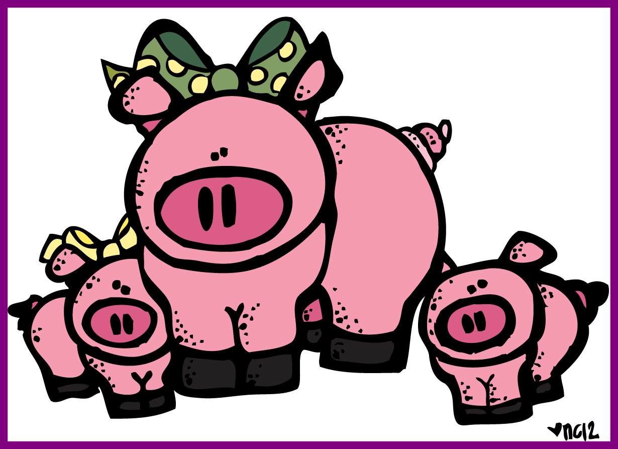 Appealing cow of piggy. Pet clipart melonheadz