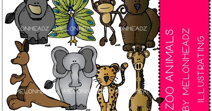 Melonheadz clipart zoo. Jill s animal set