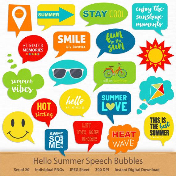 Hello summer speech bubbles. Scrapbook clipart printable