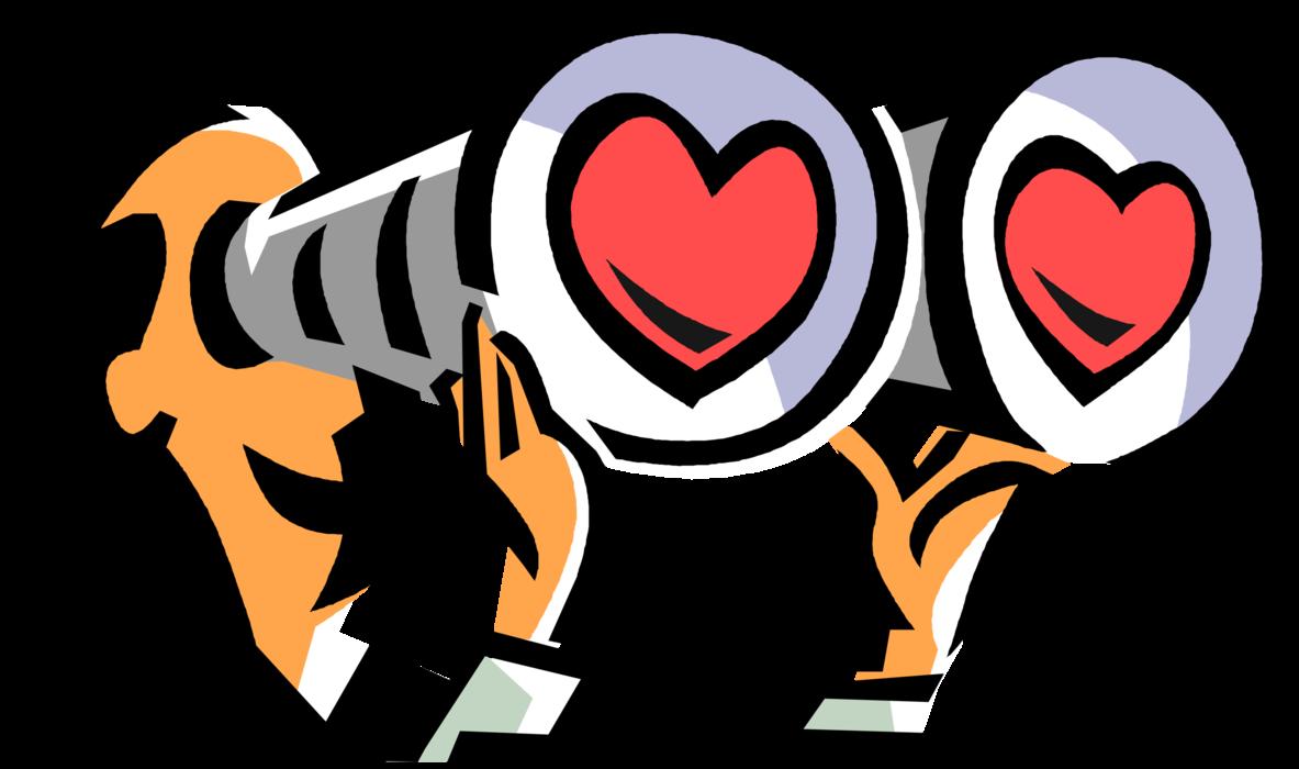 Men clipart binoculars. Romantic looks through vector