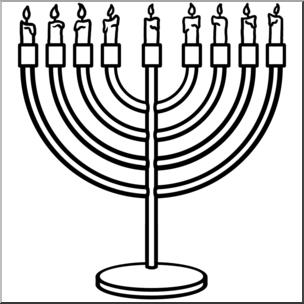 Clip art b w. Hanukkah clipart menorah