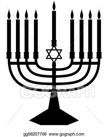 Stock illustration silhouette clip. Menorah clipart judaism