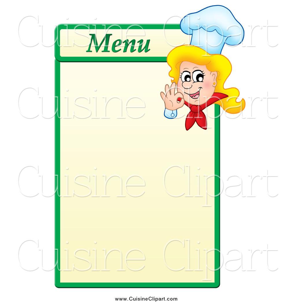 Menu clipart chef menu. Cuisine of a blond
