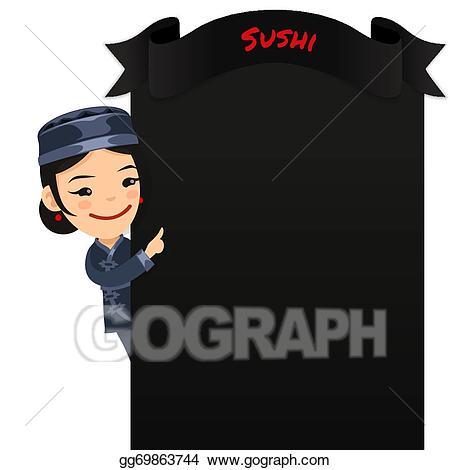 Menu clipart chef menu. Vector art asian female