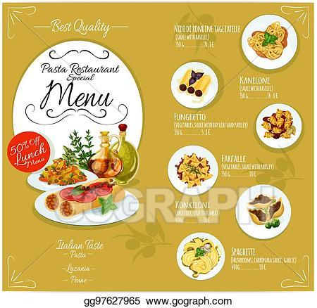 Menu clipart pasta italian. Vector stock card template