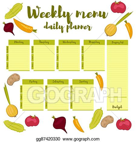 Vector stock weekly green. Planner clipart dinner menu