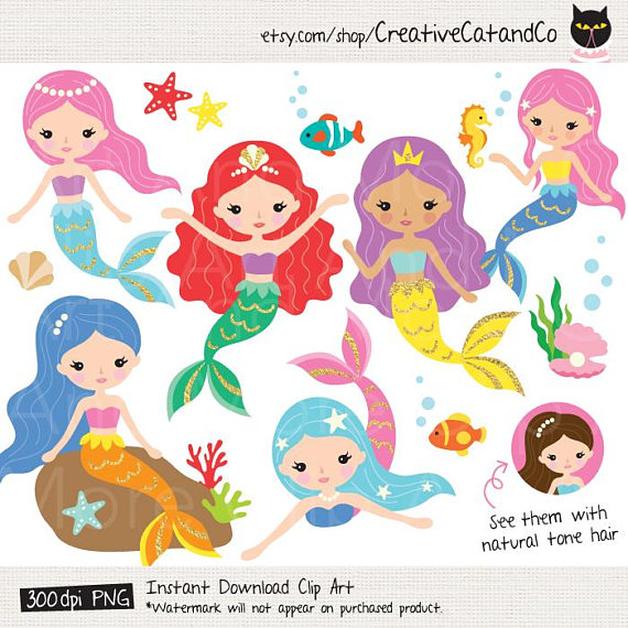 Mermaid clipart. Cute gold