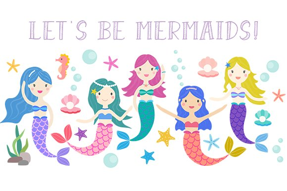 Mermaid clipart. Let s be mermaids