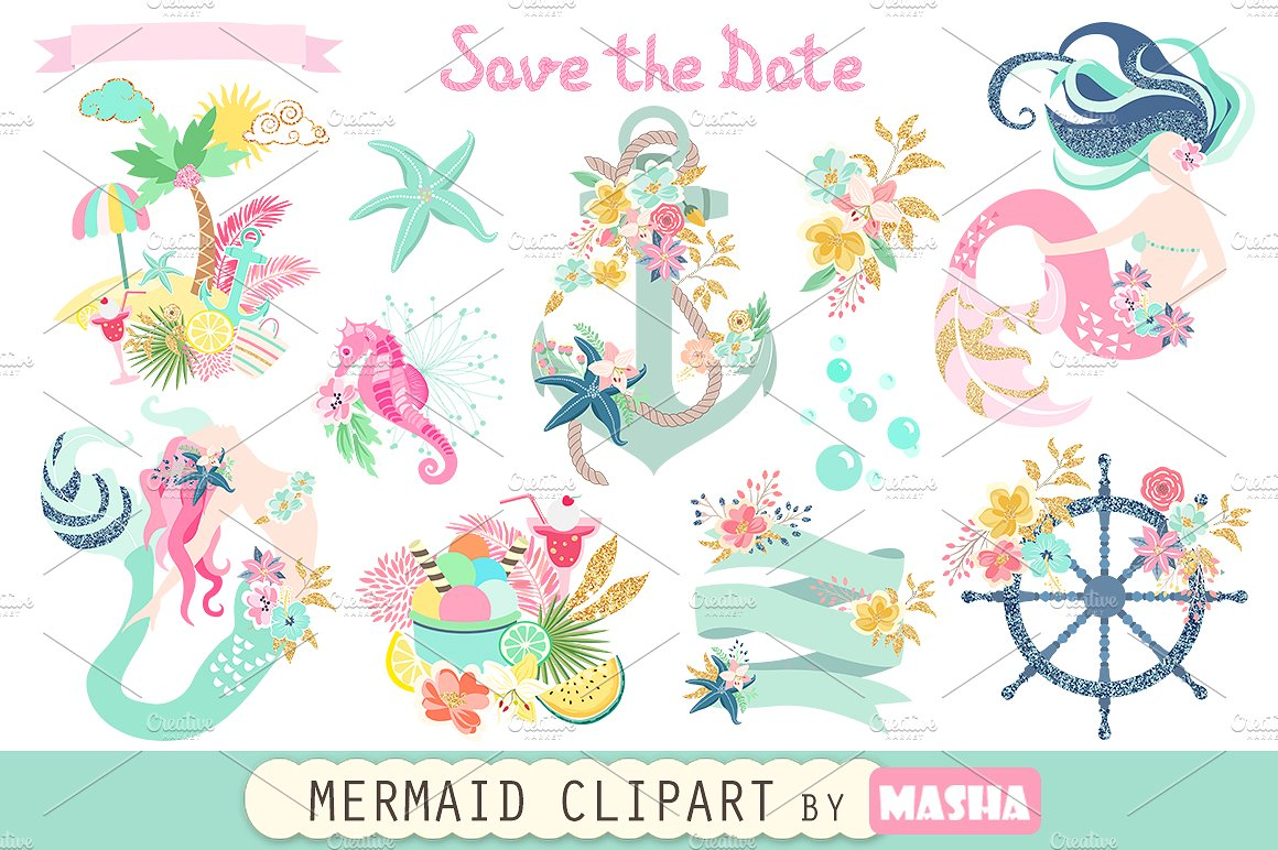 Graphics creative market . Mermaid clipart