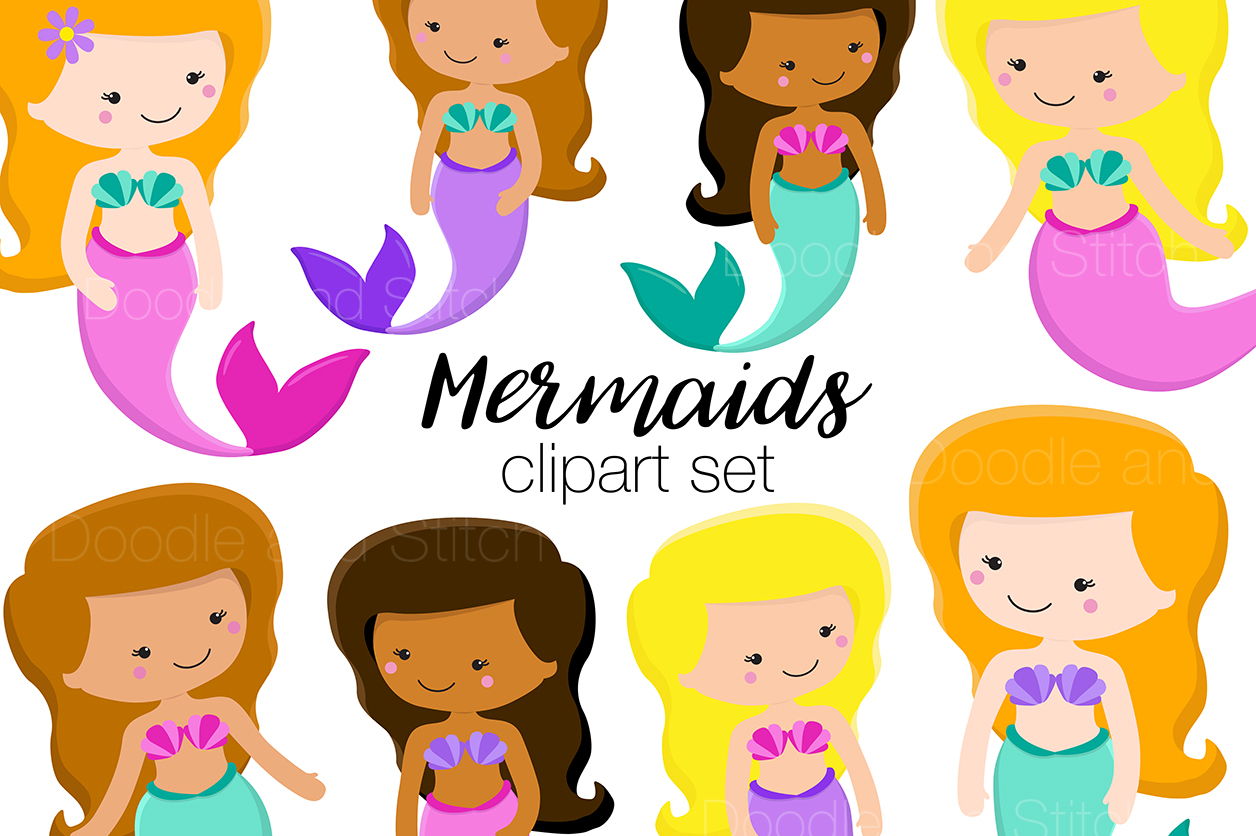 Mermaid clipart. Cute mermaids set by