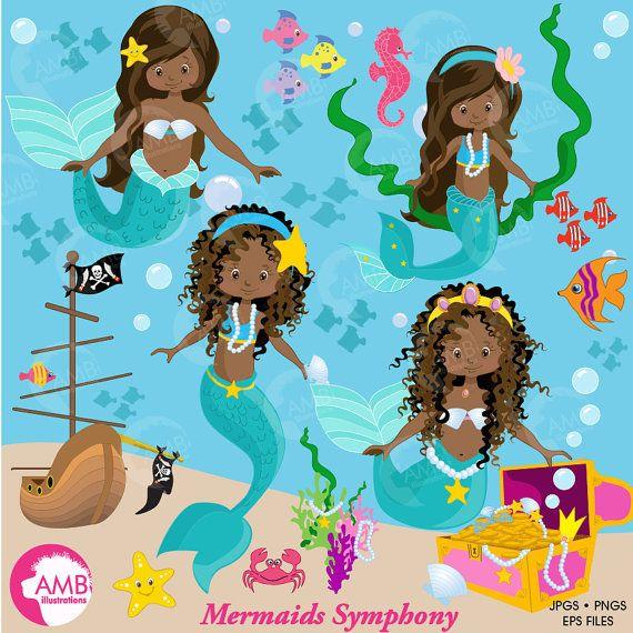 Mermaids dark . Mermaid clipart african american