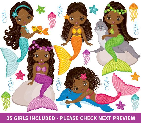 Mermaid clipart african american. Mermaids vector fish girls