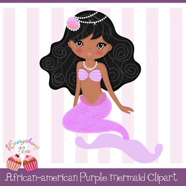 Mermaid clipart african american. Purple stickers