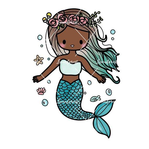 Girl digital download . Mermaid clipart african american