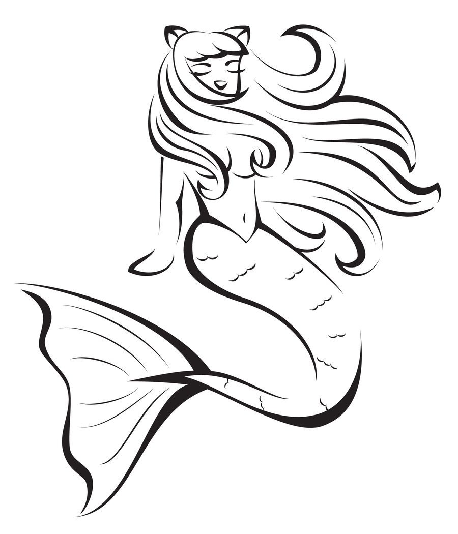 Mermaid clipart black and white. Free download clip art