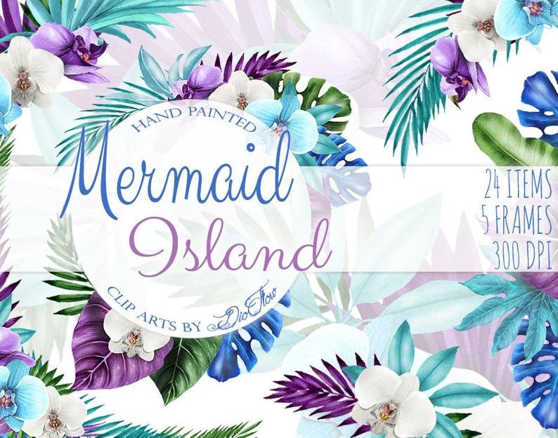 Mermaid clipart flower. Watercolor tropical frame orchids
