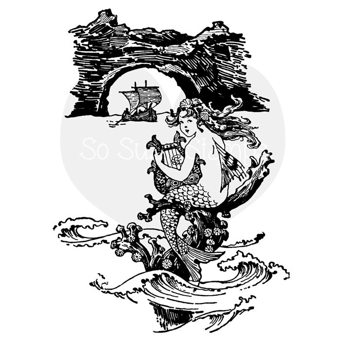 Black and white illustration. Mermaid clipart flower