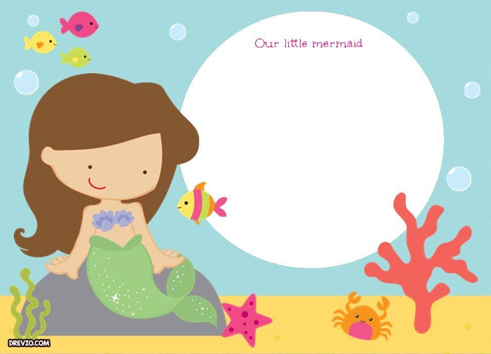 Updated free printable ariel. Mermaid clipart invitation