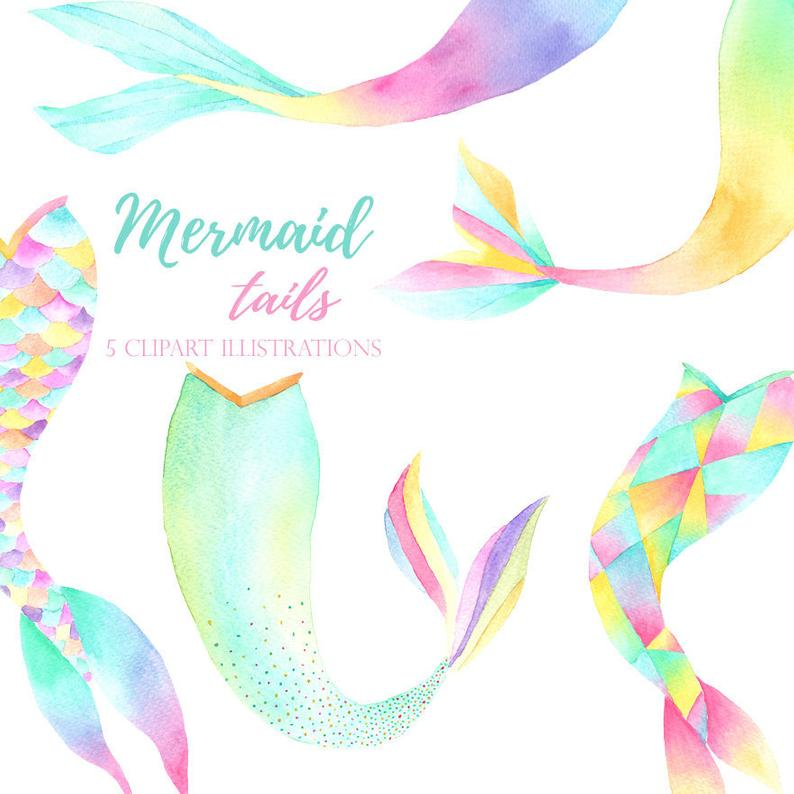 Mermaid clipart invitation. Watercolor tail png party