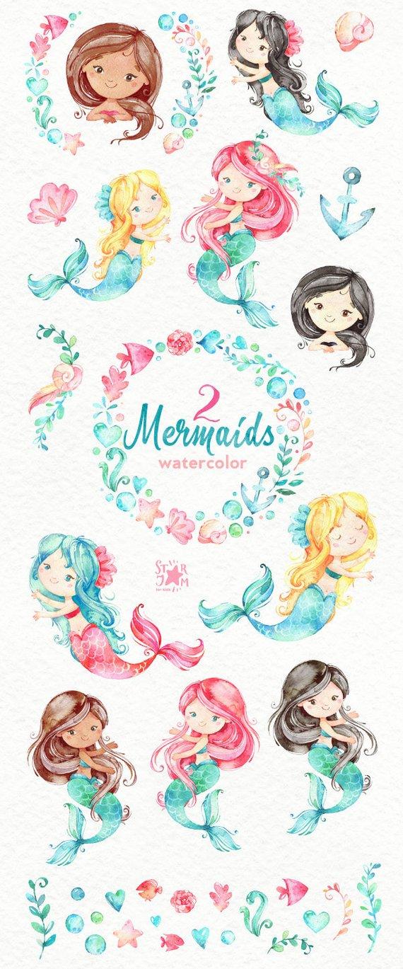 Mermaid clipart nautical. Mermaids watercolor sea girls