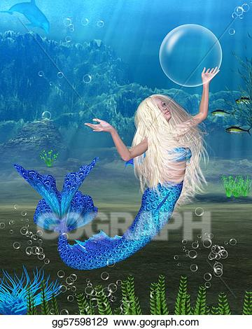 Stock illustration pretty blonde. Mermaid clipart scene