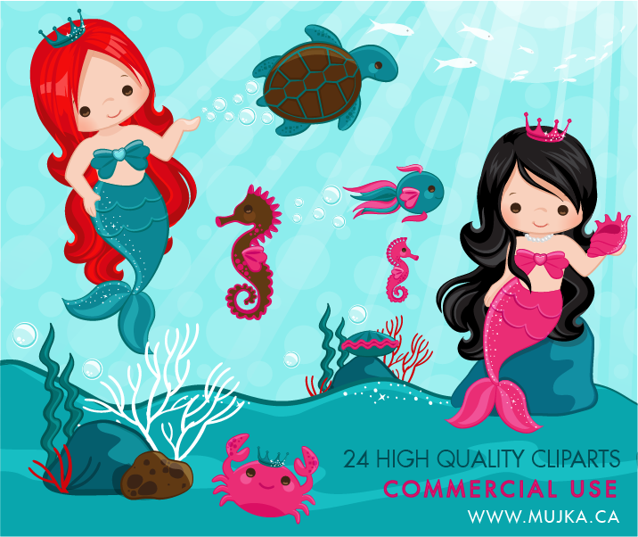 Mermaid clipart scene. Lovely little