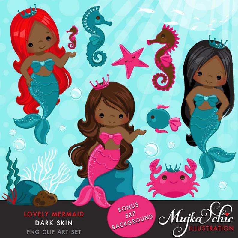 Lovely little dark under. Mermaid clipart skin