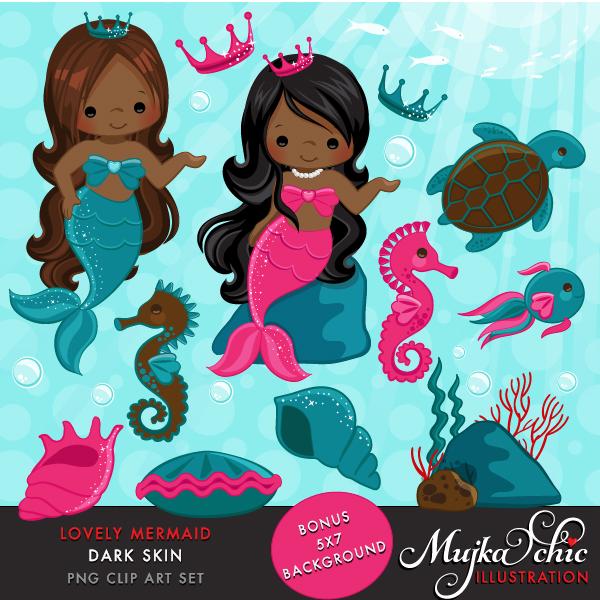 Mermaid clipart skin. Lovely little dark