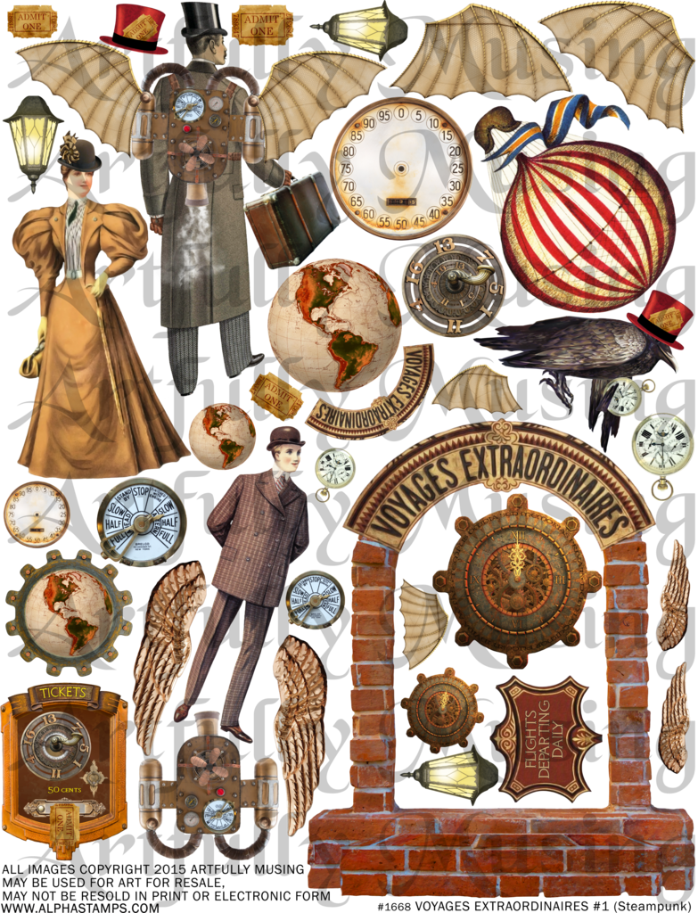 Steampunk clipart flight wing. Artfully musing voyages extraordinaire