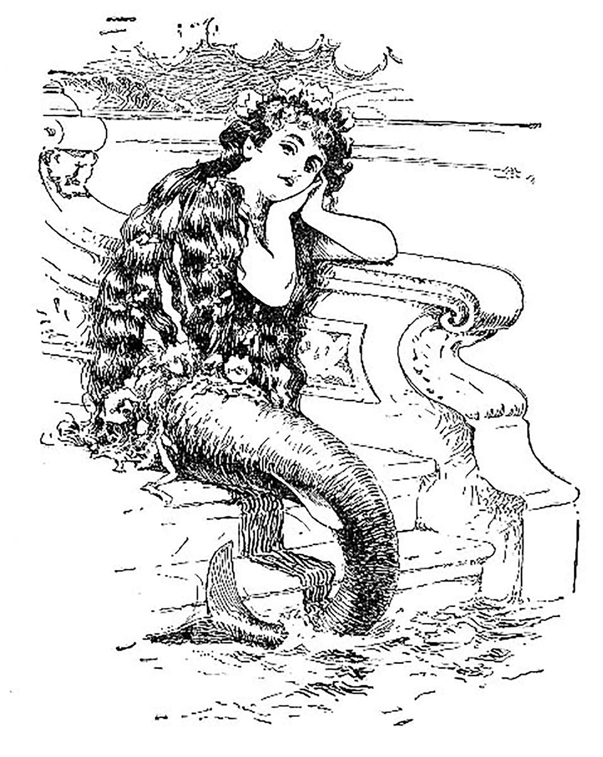 Mermaid clipart victorian.  clip art images