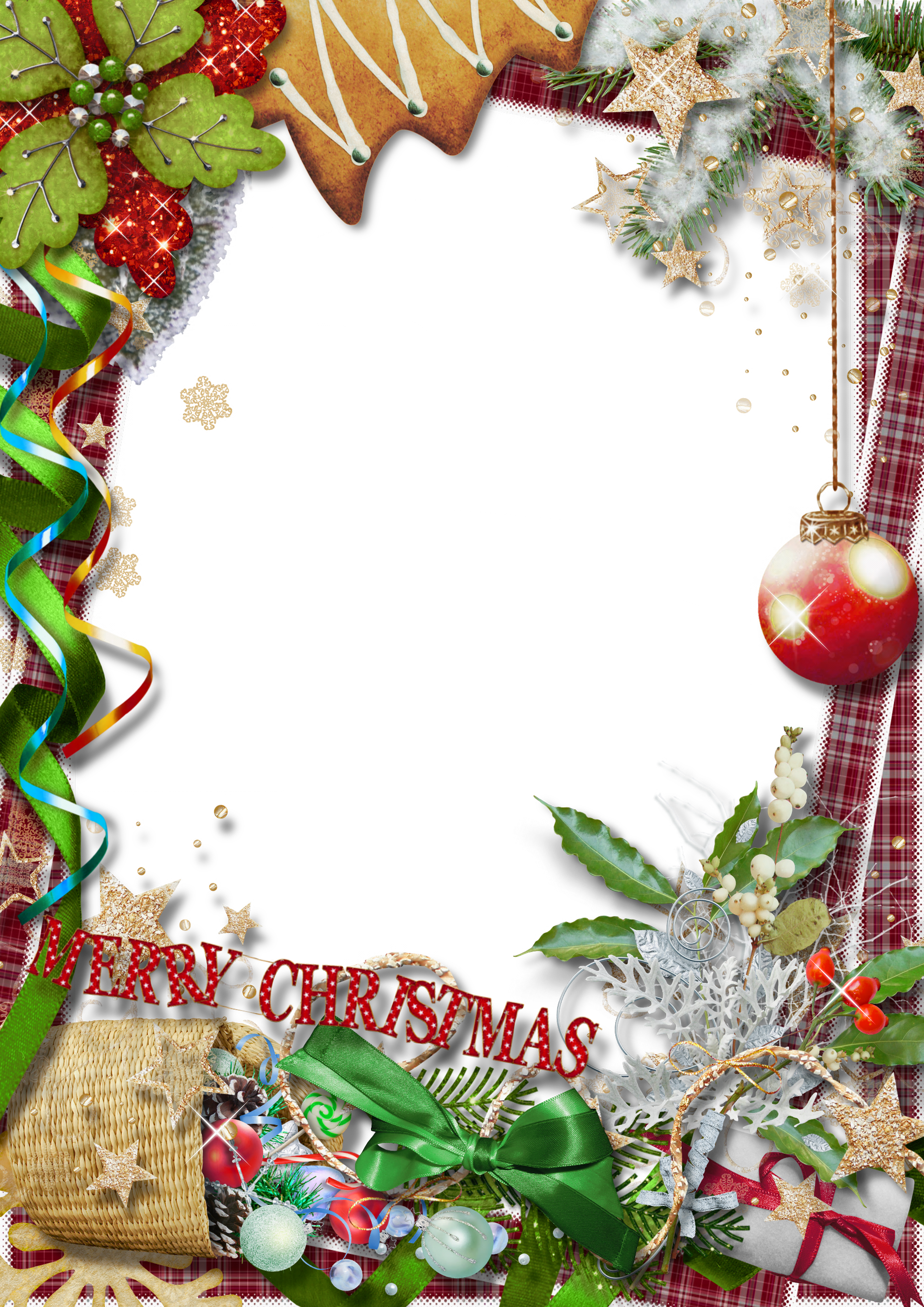 Merry christmas frame png. Photo with green bow