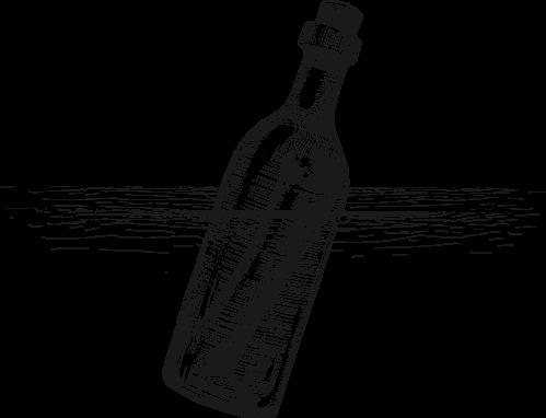 Message in a bottle png. Sketch dark harbor boat