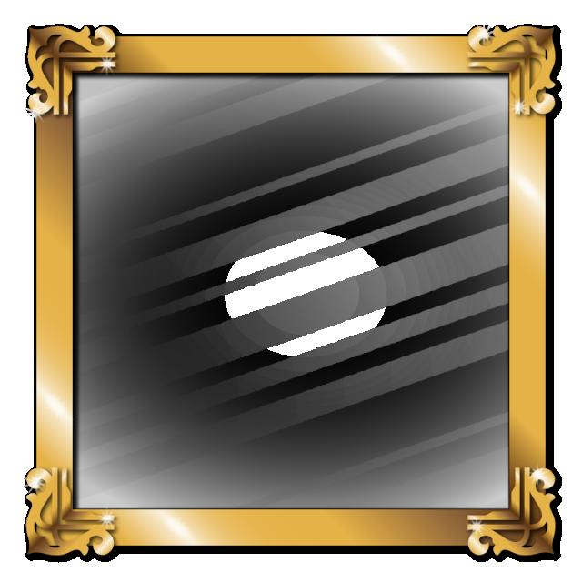 Golden picture frame glass. Metal border png