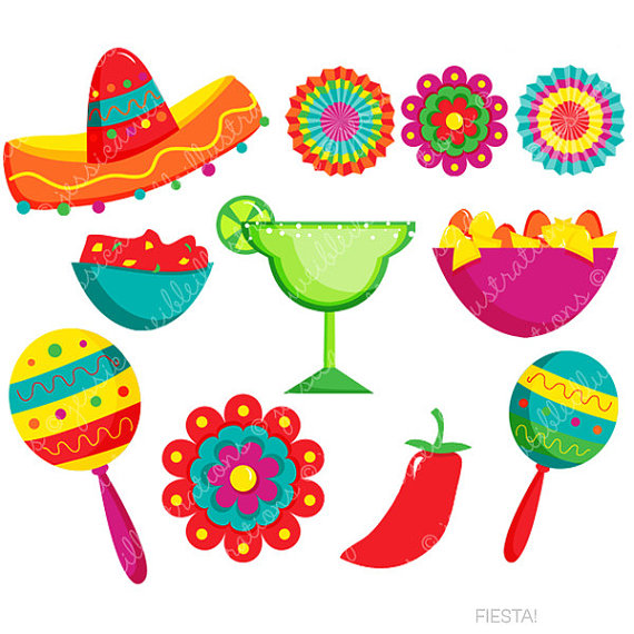 Fiesta cute digital spanish. Mexican clipart