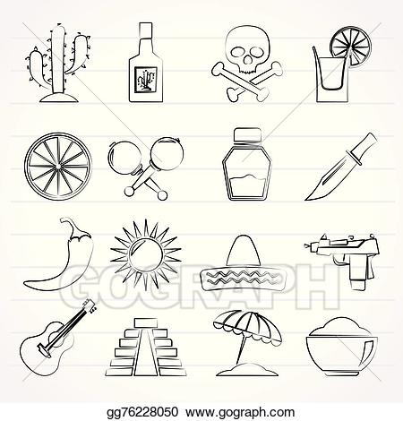 Vector art mexico and. Mexican clipart drawing