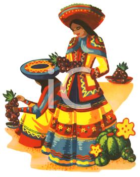 Traditional woman cinco de. Mexican clipart latino