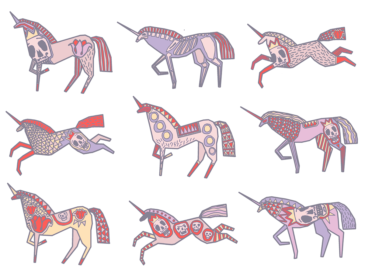 Unicorns on behance illustrations. Mexican clipart ornament
