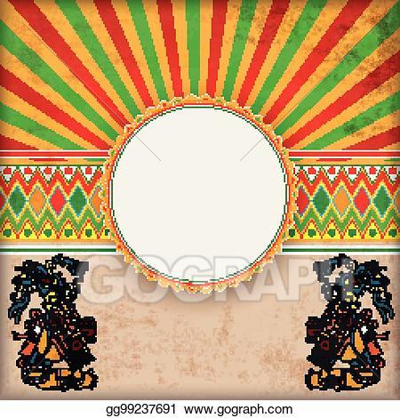 Vector cover retro sun. Mexican clipart ornament