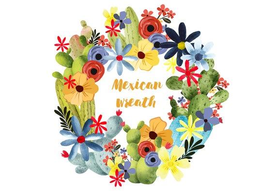 Mexican clipart wreath. Floral cactus clip art