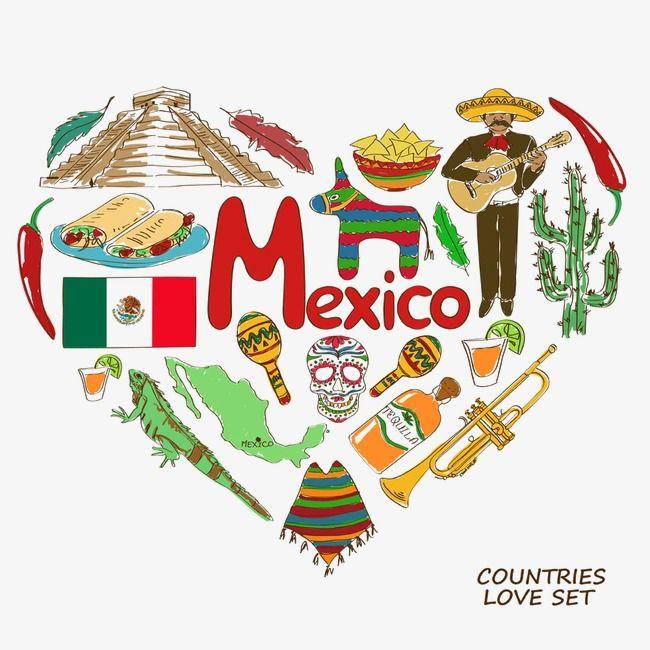 Heart shaped elements element. Mexico clipart
