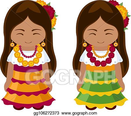Mexico clipart dress mexican. Eps illustration girls in