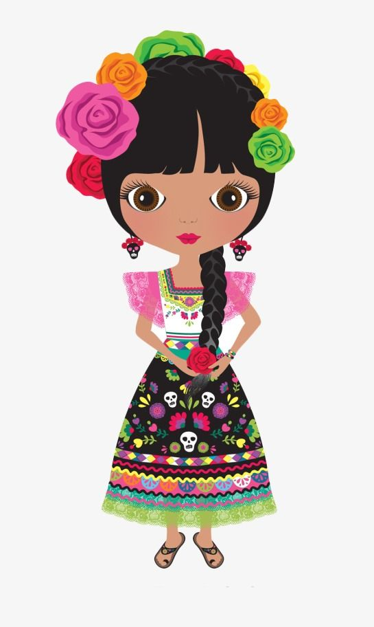Mexico clipart dress mexican. Hand painted girl